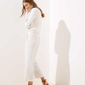 Loft Wide Leg Striped Linen Pants